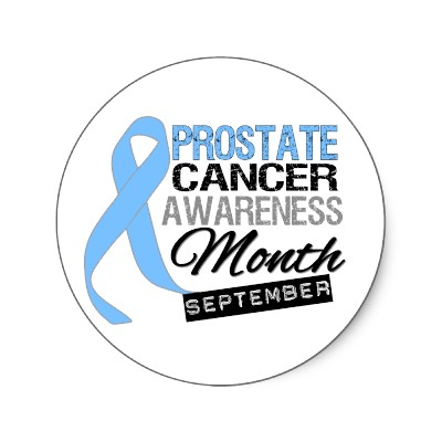 A sticker image with a blue ribbon stating Prostate Cancer Awareness Month September